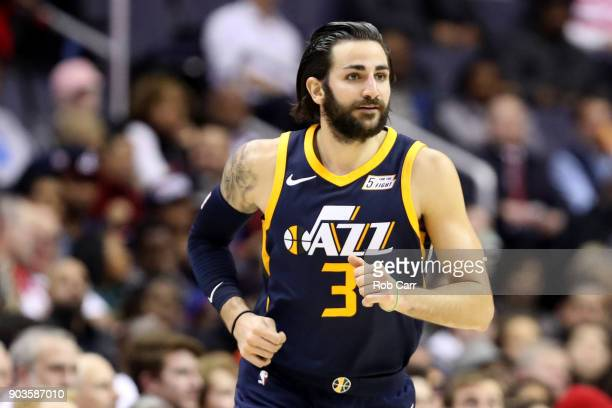 Ricky Rubio of the Utah Jazz looks on against the Washington Wizards in the first half at Capital One Arena on January 10 2018 in Washington DC NOTE...