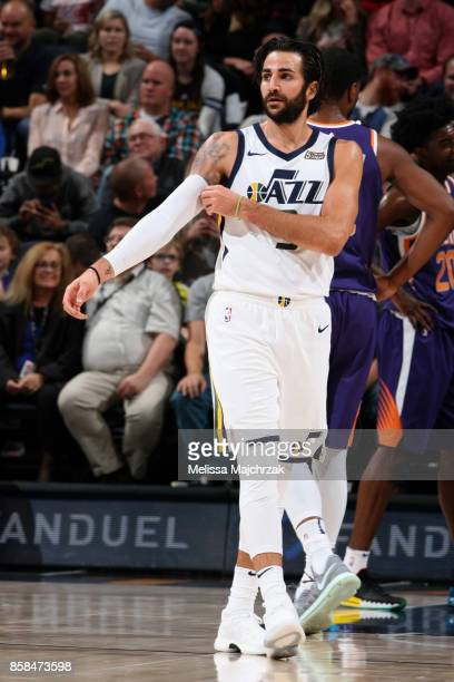 Ricky Rubio of the Utah Jazz looks on during the game against the Phoenix Suns on October 6 2017 at vivintSmartHome Arena in Salt Lake City Utah NOTE...