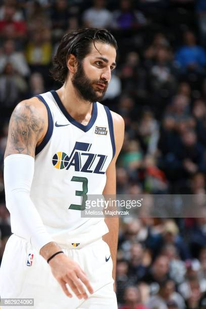 Ricky Rubio of the Utah Jazz looks on during the season game against the Denver Nuggets on October 18 2017 at Vivint Smart Home Arena in Salt Lake...