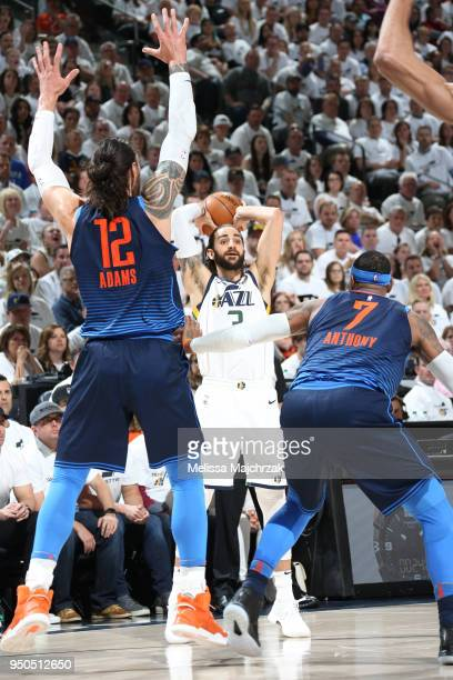 Ricky Rubio of the Utah Jazz looks to pass against the Oklahoma City Thunder in Game Four of Round One of the 2018 NBA Playoffs on April 23 2018 at...