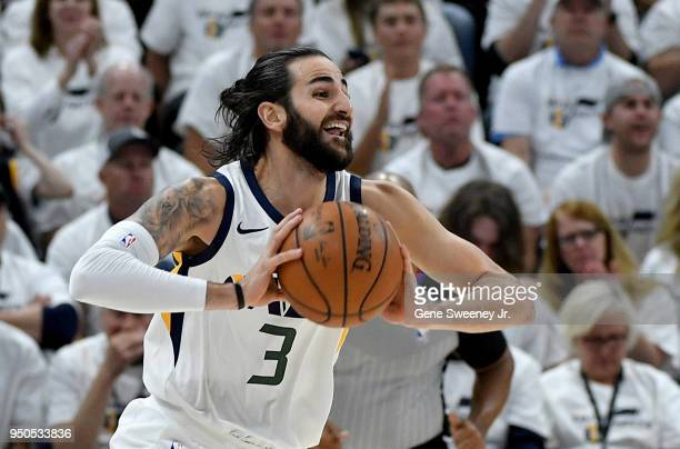 Ricky Rubio of the Utah Jazz looks to pass during Game Four of Round One of the 2018 NBA Playoffs against the Oklahoma City Thunder at Vivint Smart...