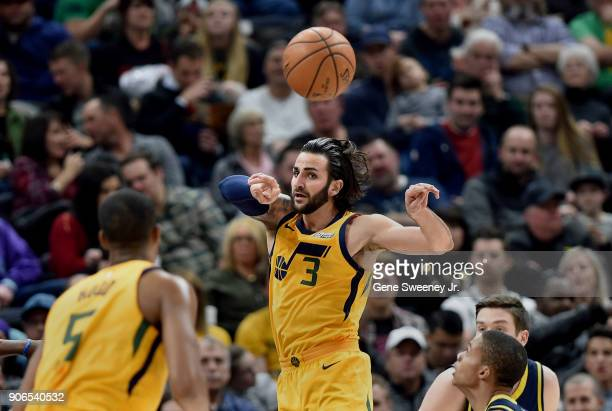 Ricky Rubio of the Utah Jazz passes the ball during a game against the Indiana Pacers at Vivint Smart Home Arena on January 15 2018 in Salt Lake City...