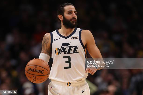 Ricky Rubio of the Utah Jazz plays the Denver Nuggets at the Pepsi Center on November 3 2018 in Denver Colorado NOTE TO USER User expressly...