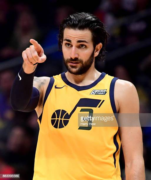 Ricky Rubio of the Utah Jazz points to his teammates during a timeout in the first half against the LA Clippers at Staples Center on November 30 2017...