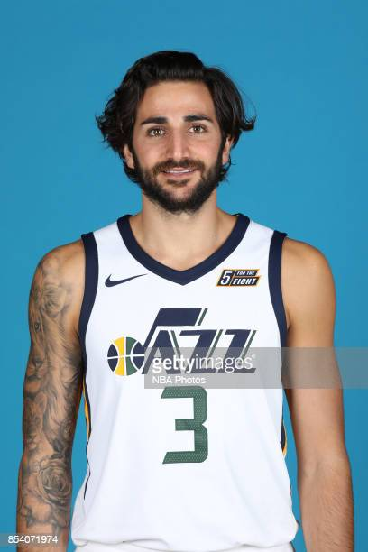 Ricky Rubio of the Utah Jazz poses for a head shot during media day at Zions Bank Basketball Center on September 25 2017 in Salt Lake City Utah NOTE...