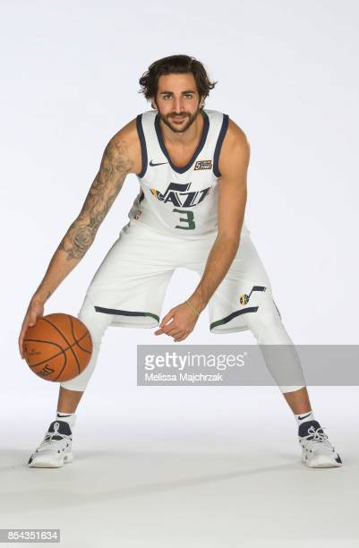 Ricky Rubio of the Utah Jazz poses for a photo during media day at Zions Bank Basketball Center on September 25 2017 in Salt Lake City Utah NOTE TO...