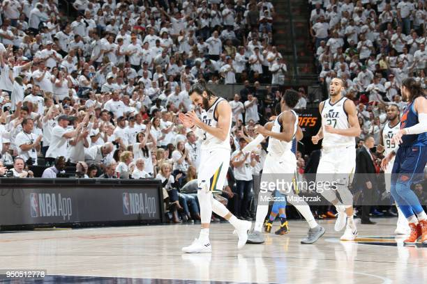 Ricky Rubio of the Utah Jazz reacts during the game against the Oklahoma City Thunder in Game Four of Round One of the 2018 NBA Playoffs on April 23...