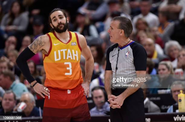 Ricky Rubio of the Utah Jazz reacts to a call and the explanation by referee Ken Mauer in the second half of a NBA game against the San Antonio Spurs...