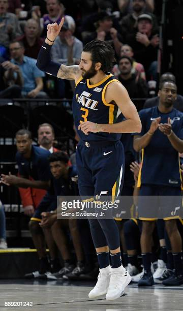 Ricky Rubio of the Utah Jazz reacts to his second half three point basket in their 112103 win over the Portland Trail Blazers at Vivint Smart Home...