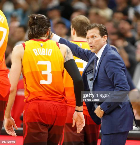 Ricky Rubio of the Utah jazz receives instruction from head coach Quin Snyder at ATT Center on March 23 2018 in San Antonio Texas NOTE TO USER User...