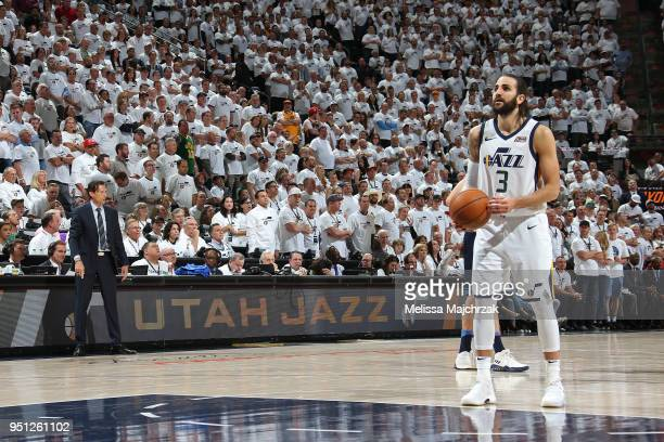 Ricky Rubio of the Utah Jazz shoots a free throw against the Oklahoma City Thunder in Game Four of Round One of the 2018 NBA Playoffs on April 23...