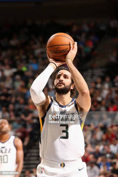 Ricky Rubio of the Utah Jazz shoots a free throw against the Phoenix Suns on October 6 2017 at vivintSmartHome Arena in Salt Lake City Utah NOTE TO...