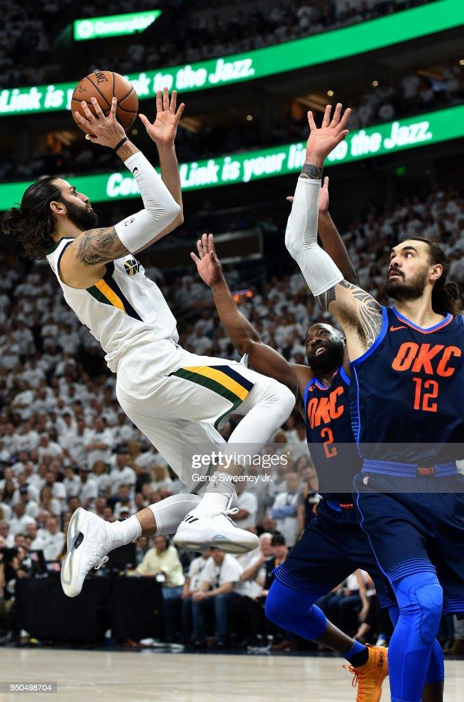 7dc40a33f9b5 Ricky Rubio  3 of the Utah Jazz shoots over Steven Adams  12 and Raymond