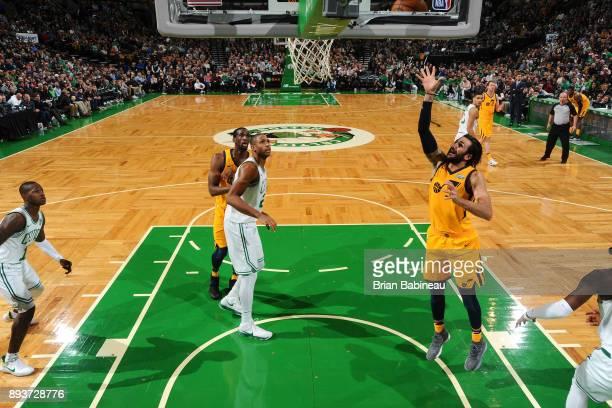 Ricky Rubio of the Utah Jazz shoots the ball against the Boston Celtics on December 15 2017 at the TD Garden in Boston Massachusetts NOTE TO USER...