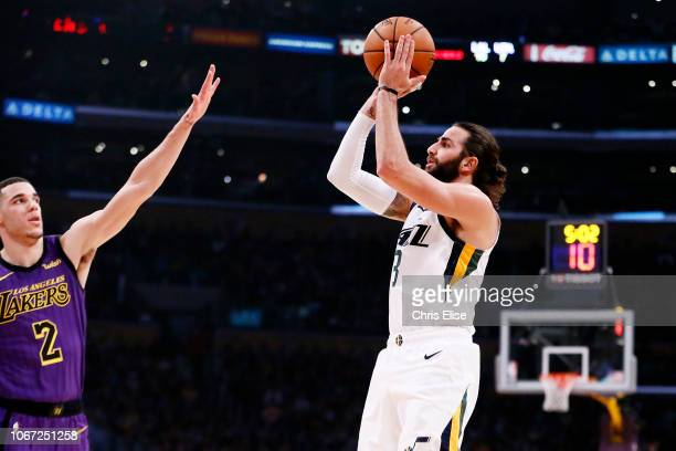Ricky Rubio of the Utah Jazz shoots the ball against the Los Angeles Lakers on November 23 2018 at the STAPLES Center in Los Angeles California NOTE...
