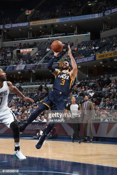 Ricky Rubio of the Utah Jazz shoots the ball against the Memphis Grizzlies on February 7 2018 at FedExForum in Memphis Tennessee NOTE TO USER User...