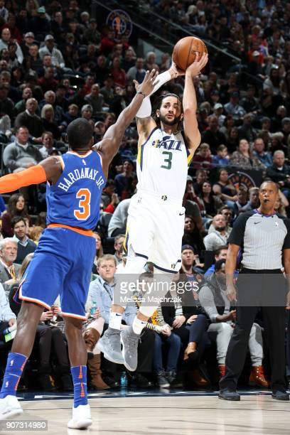 Ricky Rubio of the Utah Jazz shoots the ball against the New York Knicks on January 19 2018 at vivintSmartHome Arena in Salt Lake City Utah NOTE TO...