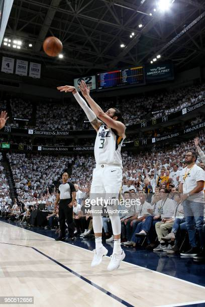 Ricky Rubio of the Utah Jazz shoots the ball against the Oklahoma City Thunder in Game Four of Round One of the 2018 NBA Playoffs on April 23 2018 at...