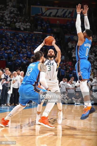 Ricky Rubio of the Utah Jazz shoots the ball against the Oklahoma City Thunder in Game Five of Round One of the 2018 NBA Playoffs on April 25 2018 at...