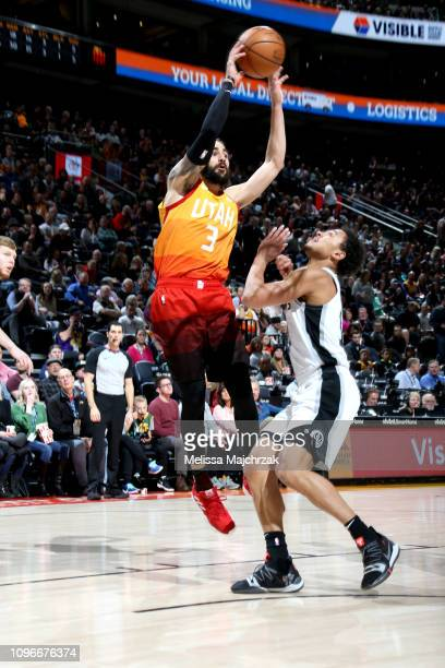 Ricky Rubio of the Utah Jazz shoots the ball against the San Antonio Spurs on February 9 2019 at Vivint Smart Home Arena in Salt Lake City Utah NOTE...