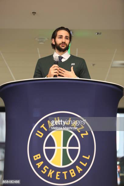 Ricky Rubio of the Utah Jazz speaks to the crowd prior to Game Night with the Jazz at vivintSmartHome Arena on October 05 2017 in Salt Lake City Utah...