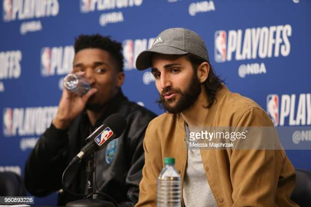 Ricky Rubio of the Utah Jazz speaks with media after the game against the Oklahoma City Thunder in Game Four of Round One of the 2018 NBA Playoffs on...