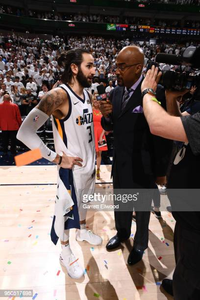 Ricky Rubio of the Utah Jazz talks to the media after the game against the Oklahoma City Thunder in Game Four of Round One of the 2018 NBA Playoffs...