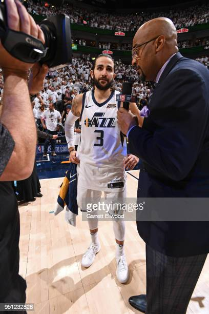 Ricky Rubio of the Utah Jazz talks to the media following Game Four of Round One of the 2018 NBA Playoffs against the Oklahoma City Thunder on April...