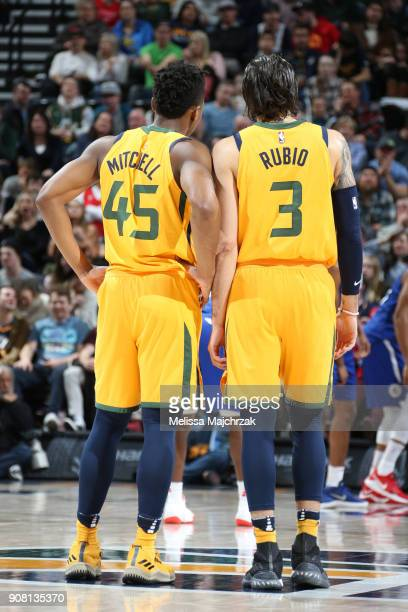 Ricky Rubio of the Utah Jazz talks with Donovan Mitchell during the game against the LA Clippers on January 20 2018 at Vivint Smart Home Arena in...
