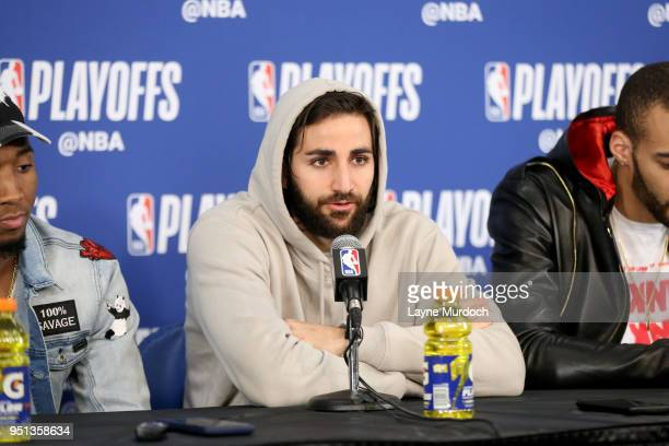 Ricky Rubio of the Utah Jazz talks with media after the game against the Oklahoma City Thunder in Game Five of Round One of the 2018 NBA Playoffs on...