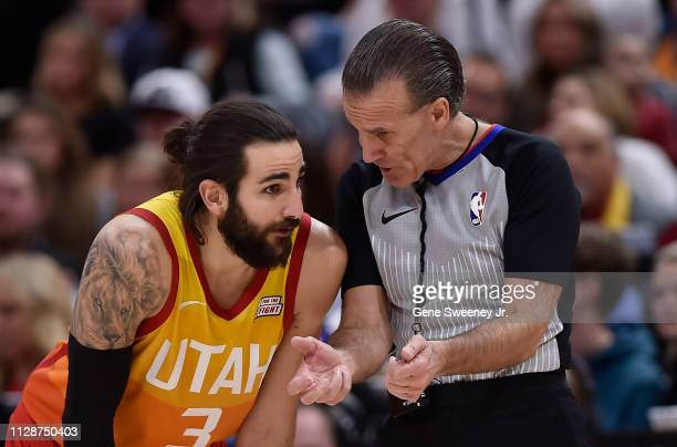 Ricky Rubio of the Utah Jazz talks with referee Ken Mauer in a NBA game against the San Antonio Spurs at Vivint Smart Home Arena on February 09 2019...