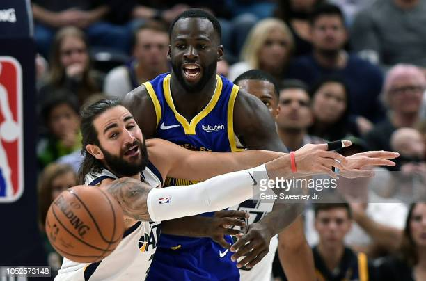 Ricky Rubio of the Utah Jazz tries for the block of a pass by Draymond Green of the Golden State Warriors in the second half of a NBA game at Vivint...