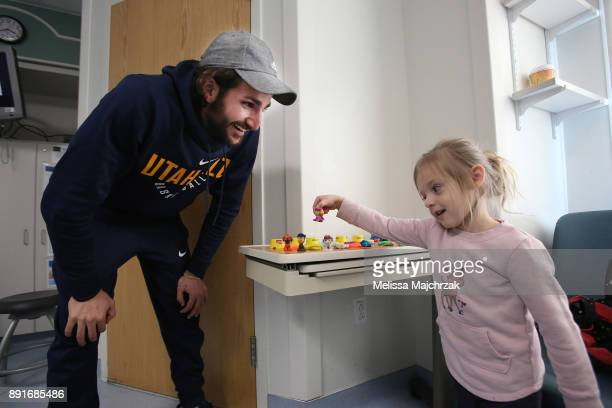 Ricky Rubio of the Utah Jazz visits patients at Primary Children's Hospital on December 11 2017 in Salt Lake City Utah NOTE TO USER User expressly...