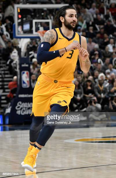 Ricky Rubio of the Utah Jazz waits for a pass during their game against the Houston Rockets at Vivint Smart Home Arena on December 7 2017 in Salt...