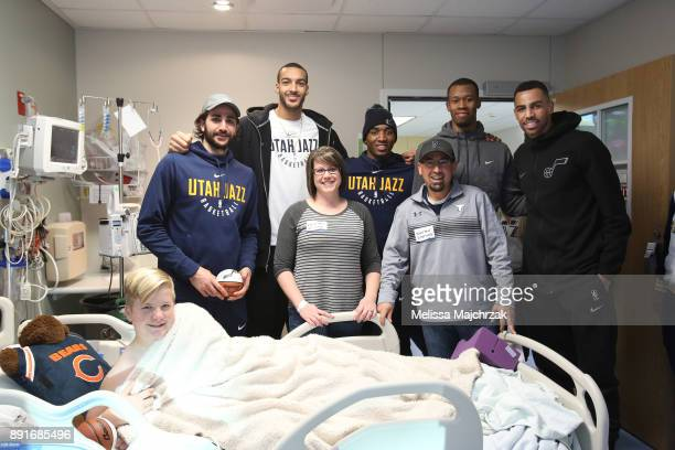 Ricky Rubio Rudy Gobert Donovan Mitchell Rodney Hood and Thabo Sefolosha of the Utah Jazz visits patients at Primary Children's Hospital on December...