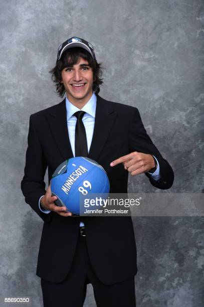 Ricky Rubio selected number five overall by the Minnesota Timberwolves poses for a portrait during the 2009 NBA Draft on June 25 2009 at the WaMu...