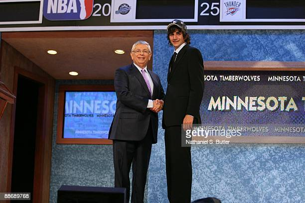 Ricky Rubio shakes hands with NBA Commissioner David Stern after being selected fifth by the Minnesota Timberwolves during the 2009 NBA Draft on June...