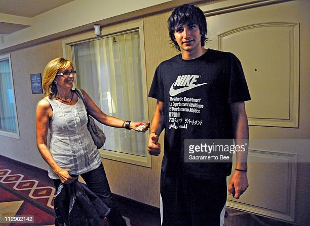 Ricky Rubio shown with his mother Tona Vives on Wednesday June 17 at the Embassy Suites hotel in downtown Sacramento California could be drafted by...