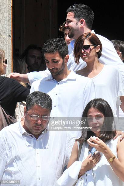 Ricky Rubio's father Esteve Rubio sister Laia Rubio and brother Marc Rubio attend the funeral for Tona Vives mother of the Minnesota Timberwolves...