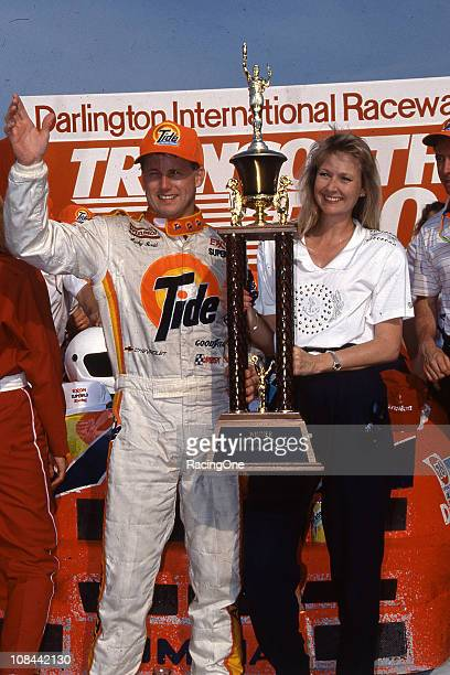Ricky Rudd celebrates his victory in the TranSouth 500 NASCAR Cup race at Darlington Raceway Rudd won at least one Cup race every year for 16...