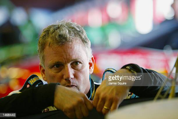 Ricky Rudd driver of the Havoline Racing Fd Taurus in the garage during practice for the EA Sports 500 at Talladega Superspeedway on October 4 2002...