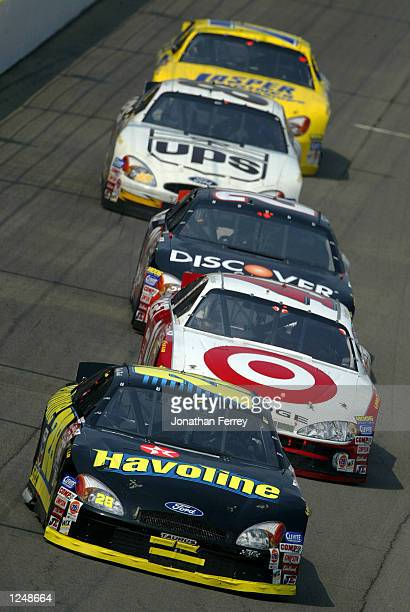 Ricky Rudd drives his Havoline Racing Ford on August 4 2002 during the NASCAR Winston Cup Brickyard 400 at Indianapolis Motor Speedway in...
