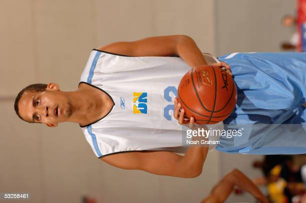 Ricky Sanchez of the Denver Nuggets shoots a free throw during the NBA Vegas Summer League on July 10 2005 in Las Vegas Nevada NOTE TO USER User...