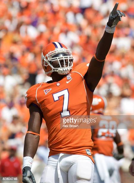 Ricky Sapp of the Clemson Tigers works to get the crowd fired up against the North Carolina State Wolfpack at Memorial Stadium on September 13 2008...