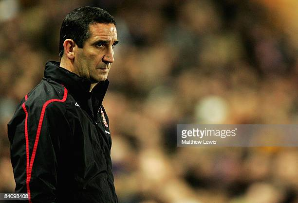 Ricky Sbragia manager of Sunderland looks on during the Barclays Premier League match between Hull City and Sunderland at the KC Stadium on December...