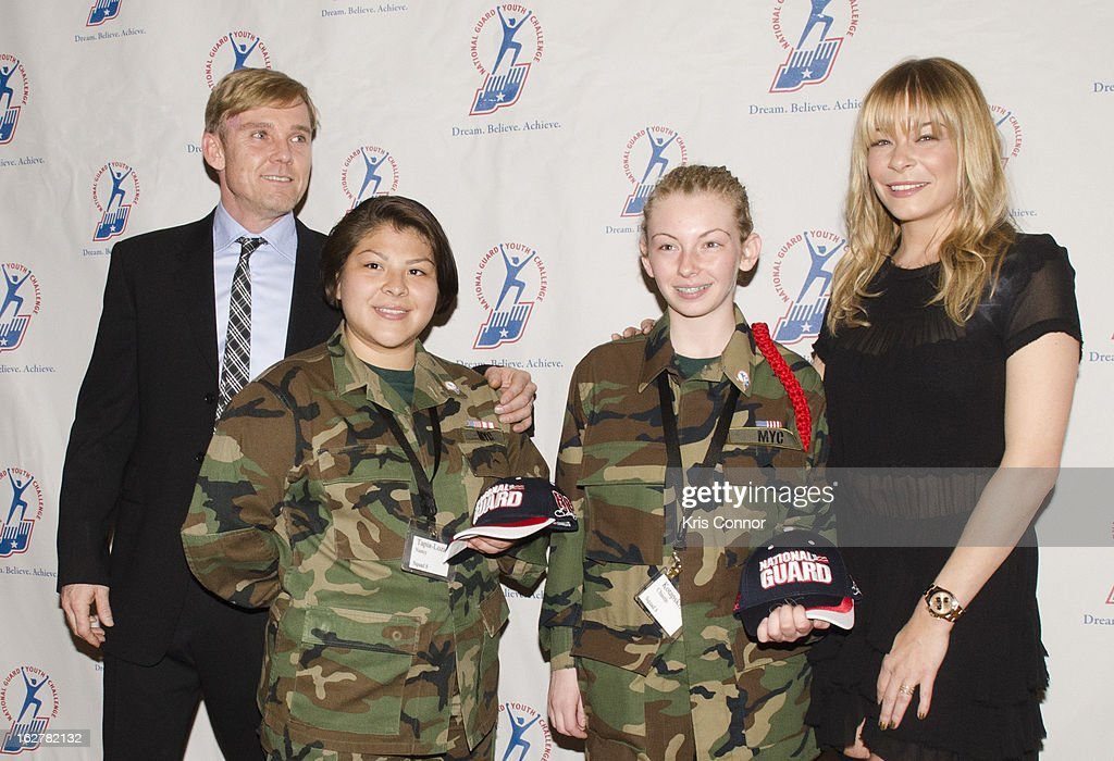 Ricky Schroder and LeAnn Rimes pose with cadets during the 2013 ChalleNGe Champions Gala at JW Marriott Hotel on February 26, 2013 in Washington, DC.