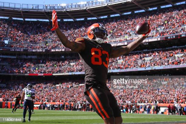 Ricky SealsJones of the Cleveland Browns celebrates his second quarter touchdown against the Seattle Seahawks at FirstEnergy Stadium on October 13...