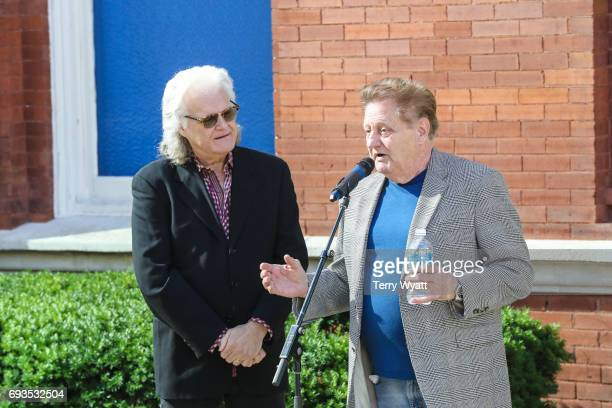Ricky Skaggs and James Monroe attend the unveiling of statues of Little Jimmy Dickens and Bill Monroe at Ryman Auditorium on June 7, 2017 in...