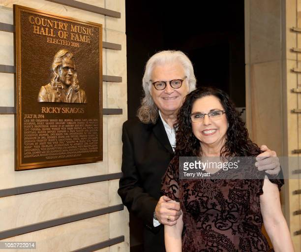 Ricky Skaggs and Sharon White admire Skaggs' plaque at the 2018 Country Music Hall of Fame and Museum Medallion Ceremony honoring inductees Johnny...