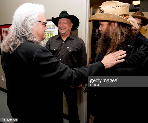 Ricky Skaggs Garth Brooks and Chris Stapleton backstage at Marty Stuart's First of Three Shows as ArtistinResidence at Country Music Hall of Fame and...